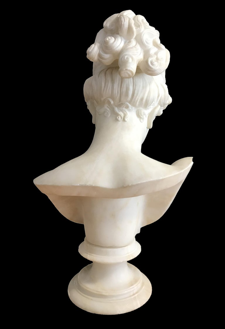 Bust of Young Woman, Original Carrara Marble Sculpture For Sale 1