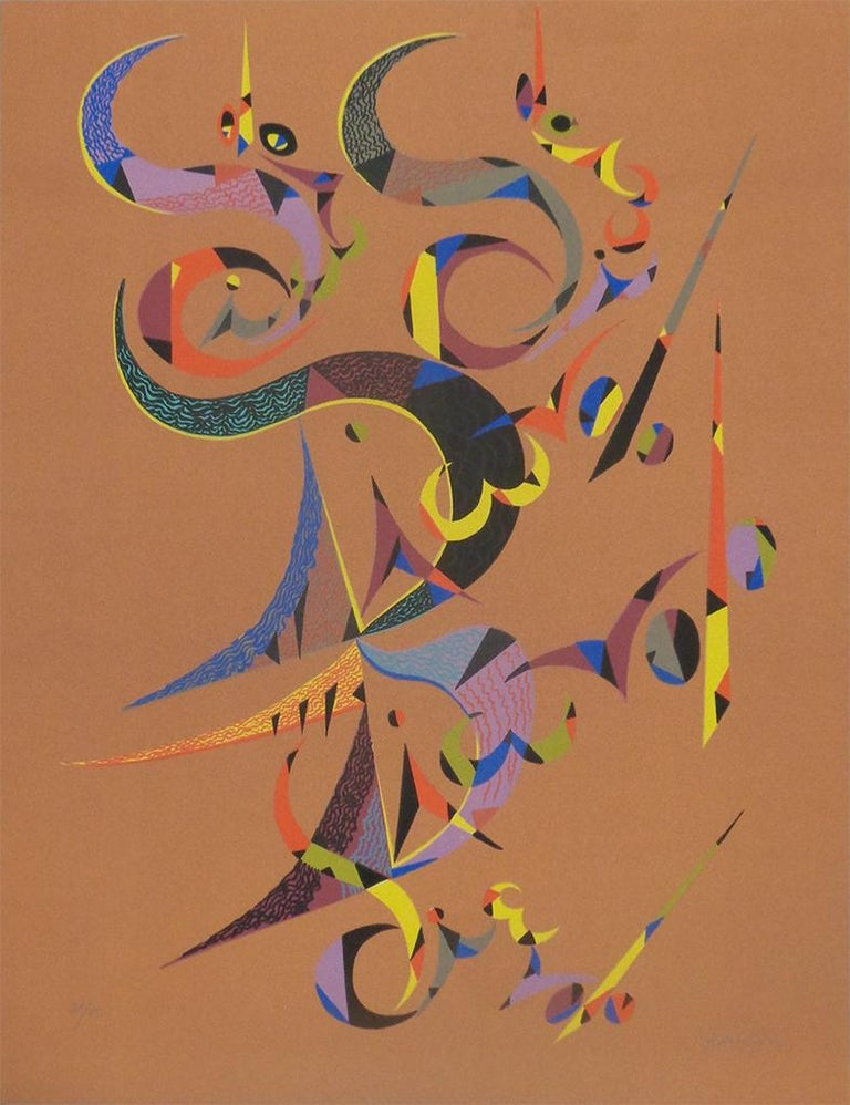 Rafael Alberti Abstract Print - Letter D - Original Lithograph by Raphael Alberti - 1972