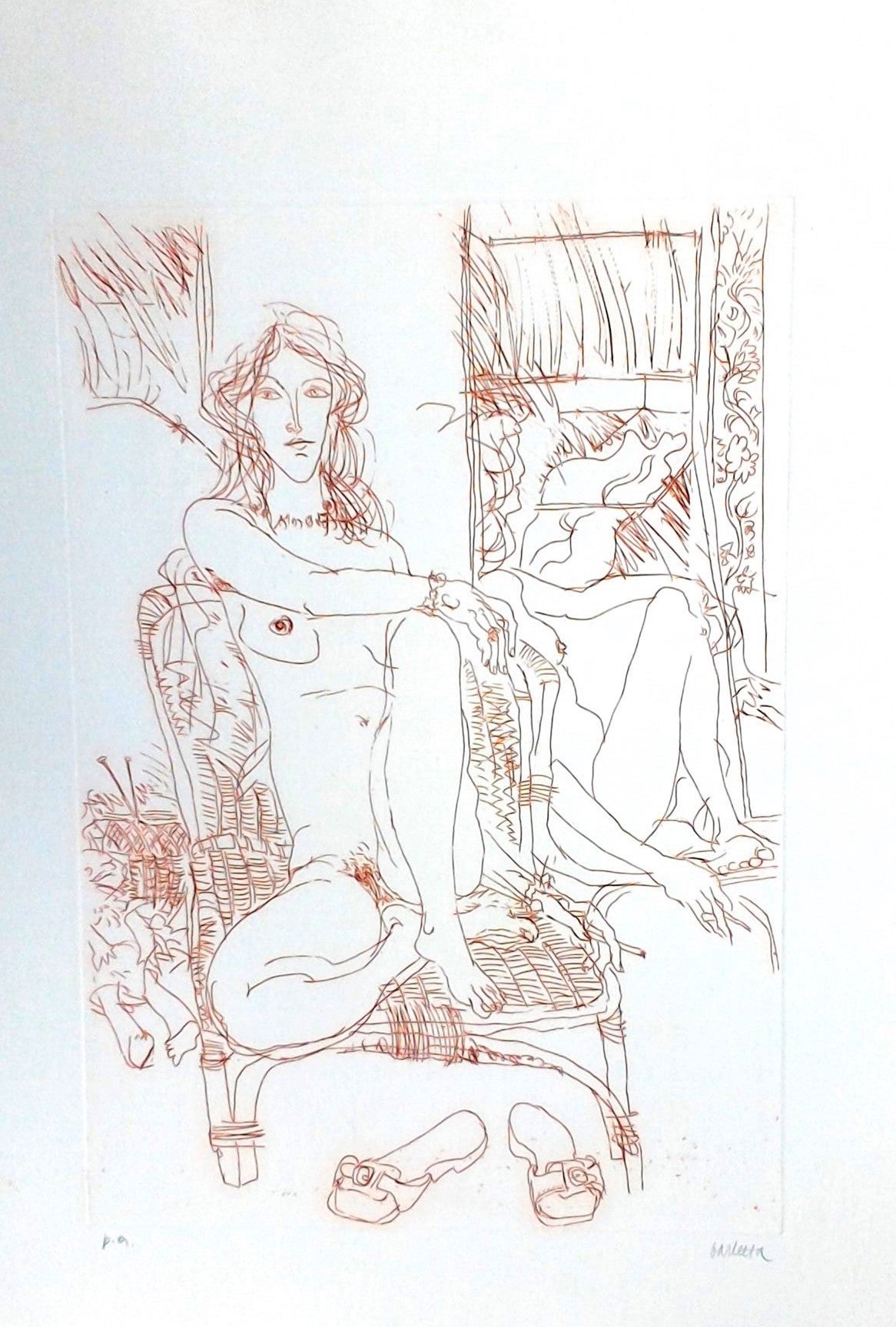 Nude Model - Original Etching by Sergio Barletta - 1970s