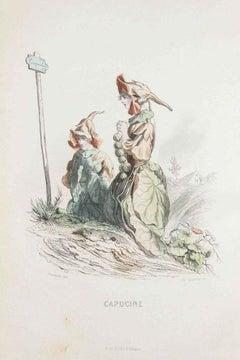 Capucine - Les Fleurs Animées Vol.I - Litho by J.J. Grandville - 1847