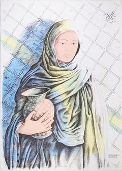 Water Carrier - Original Hand-Colored Lithograph by A. Quarto - 1980s