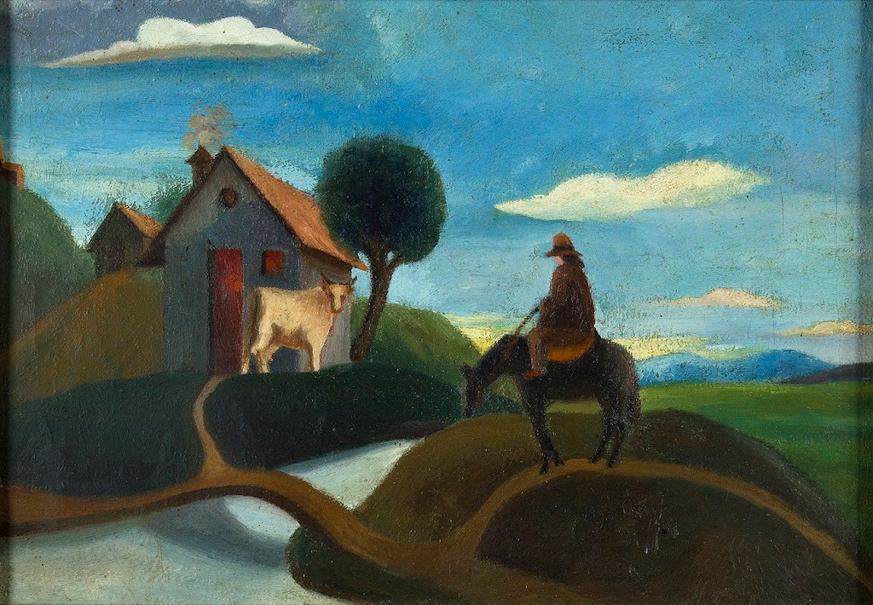 Landscape with Farmer - Oil on Canvas - Early 20th Century