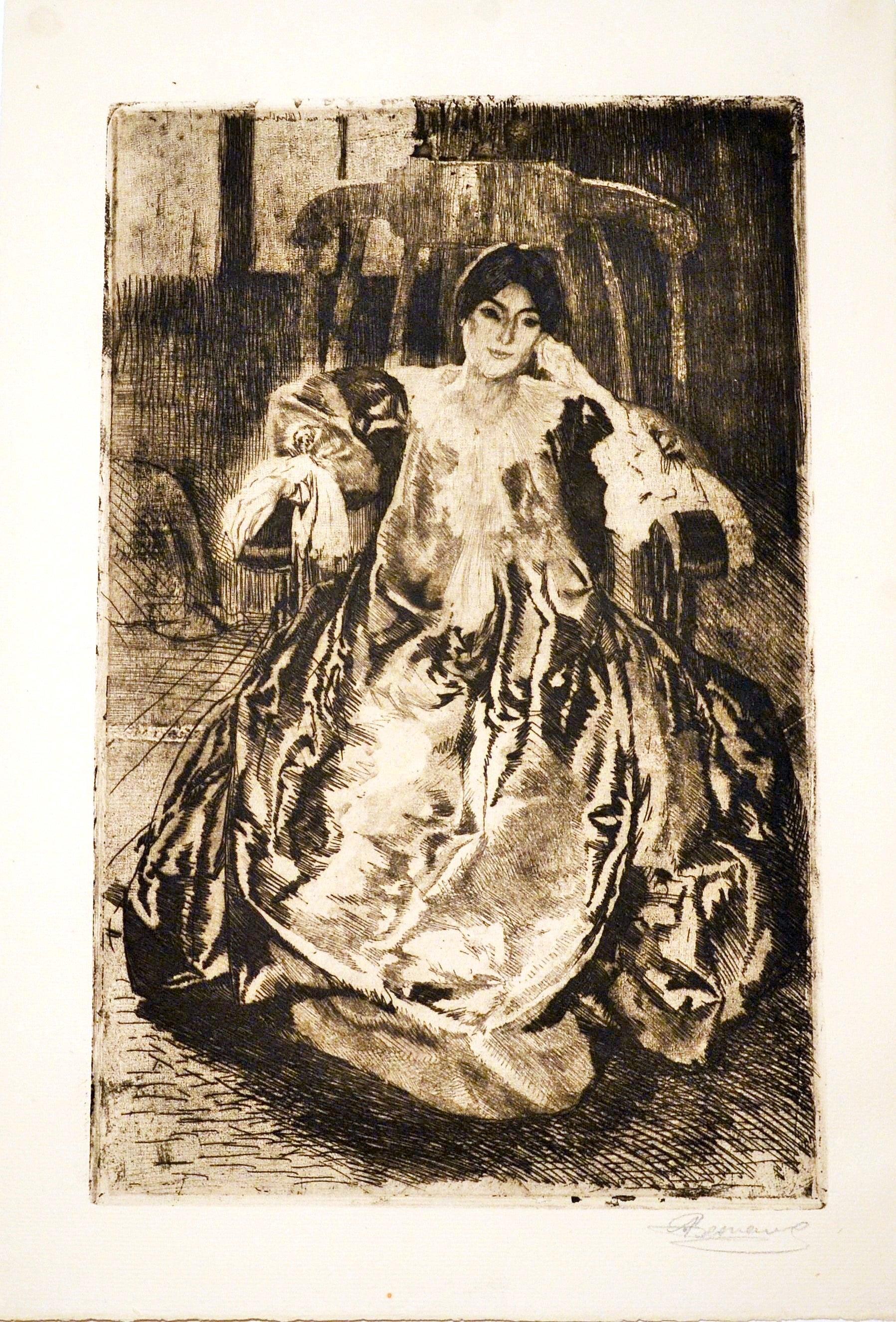 La Robe de Soie - Original Etching and Drypoint by Abel Besnard - 1887