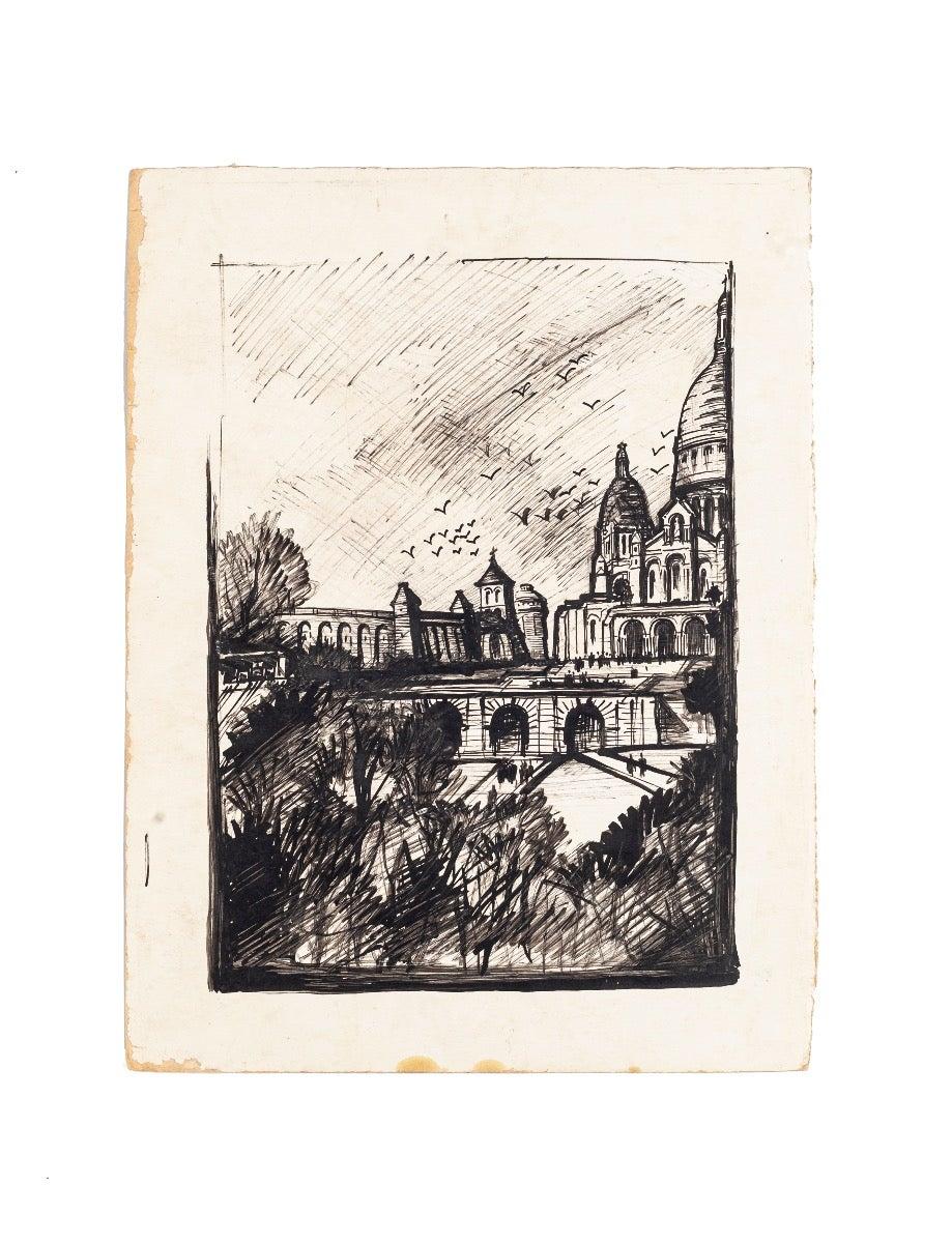 Paris Landscape - China Ink and Black Marker on Paper - 1950 ca.