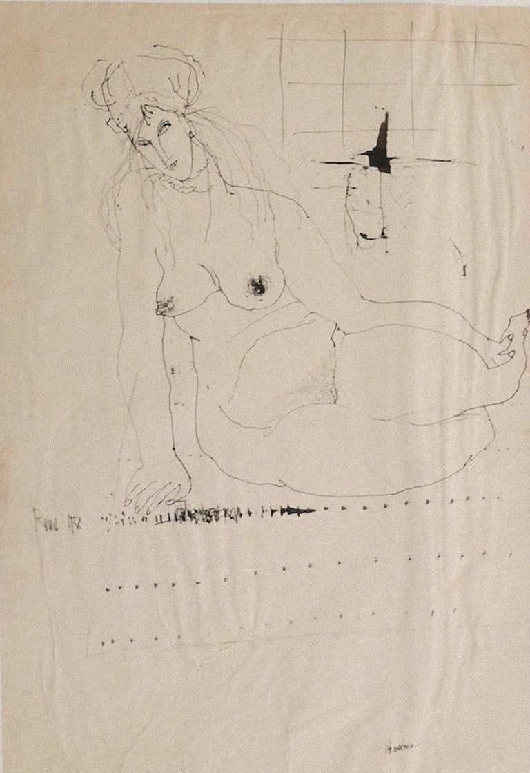 Nude - Original Drawing in Pen by Sergio Barletta - 1958