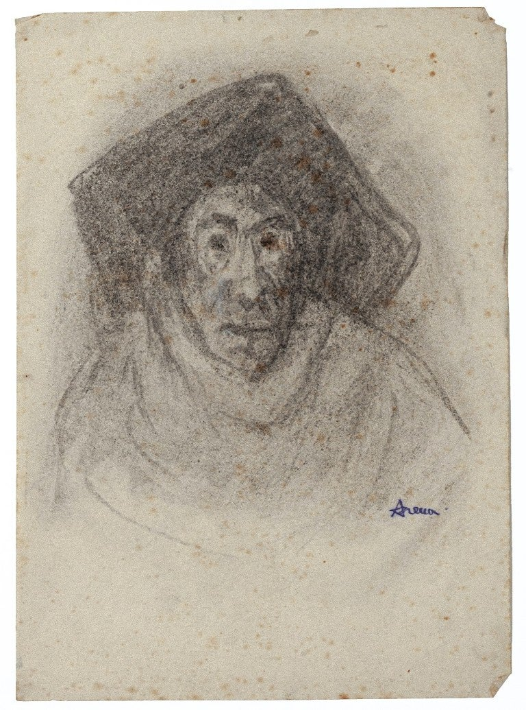 Portrait - Original Etching on Paper by Giampaolo Berto - 1972