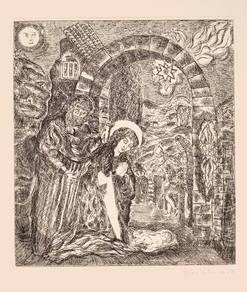 Christmas Day - Original Etching on Paper by Giampaolo Berto - 1976