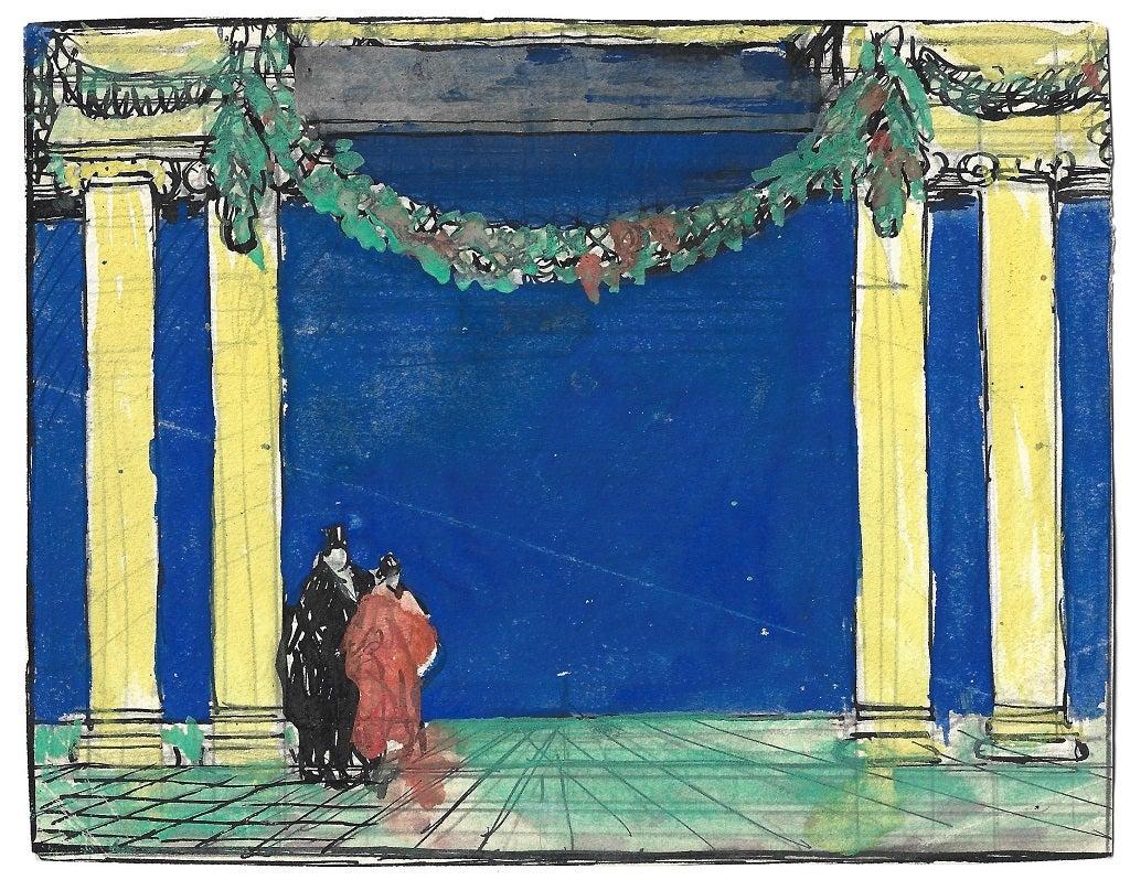 Figures at Exhibitions Palace - Original Drawing by Gabriele Galantara - 1890s