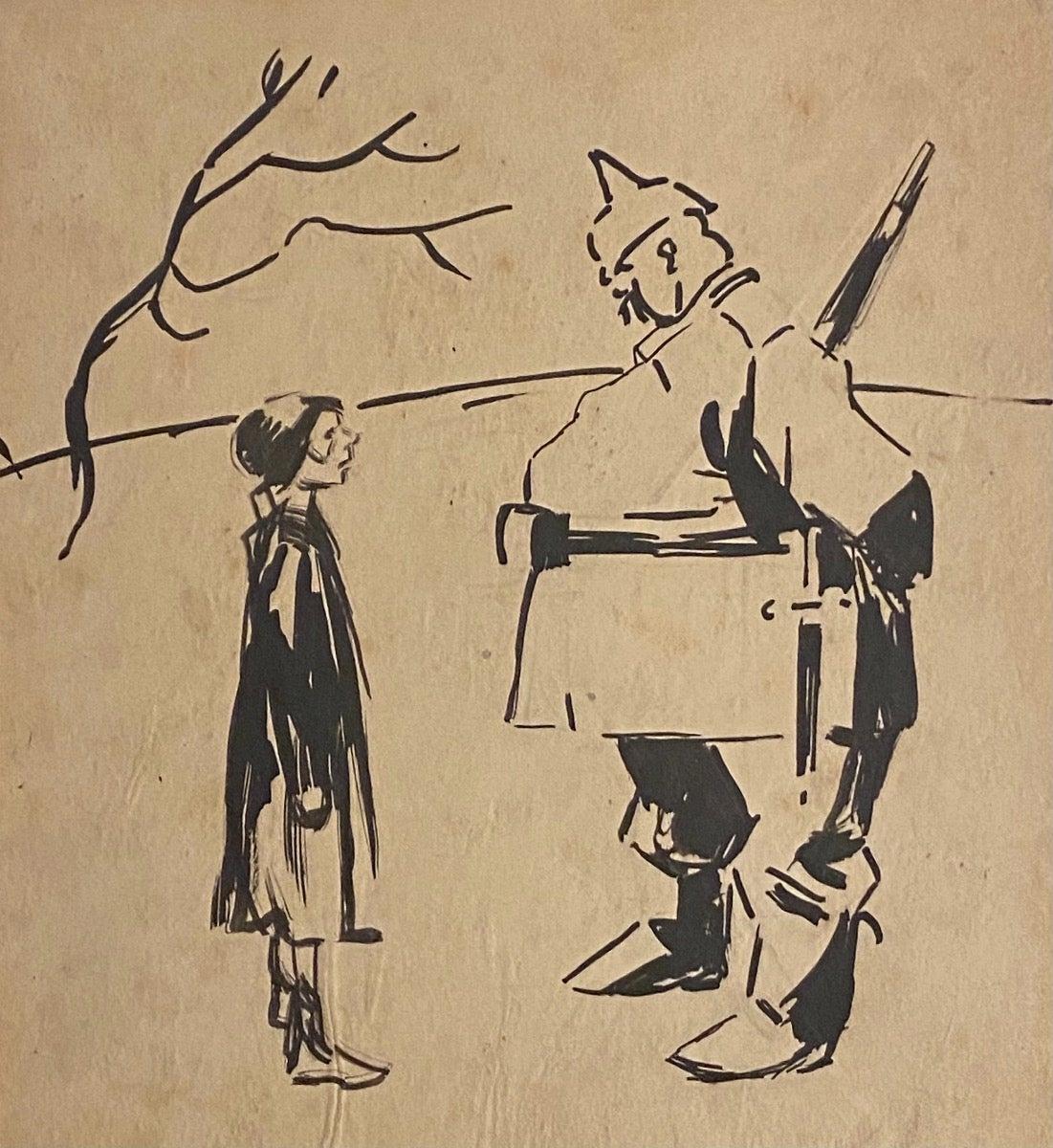 The Austrian and the Girl - Original Drawing by Gabriele Galantara - 1910s