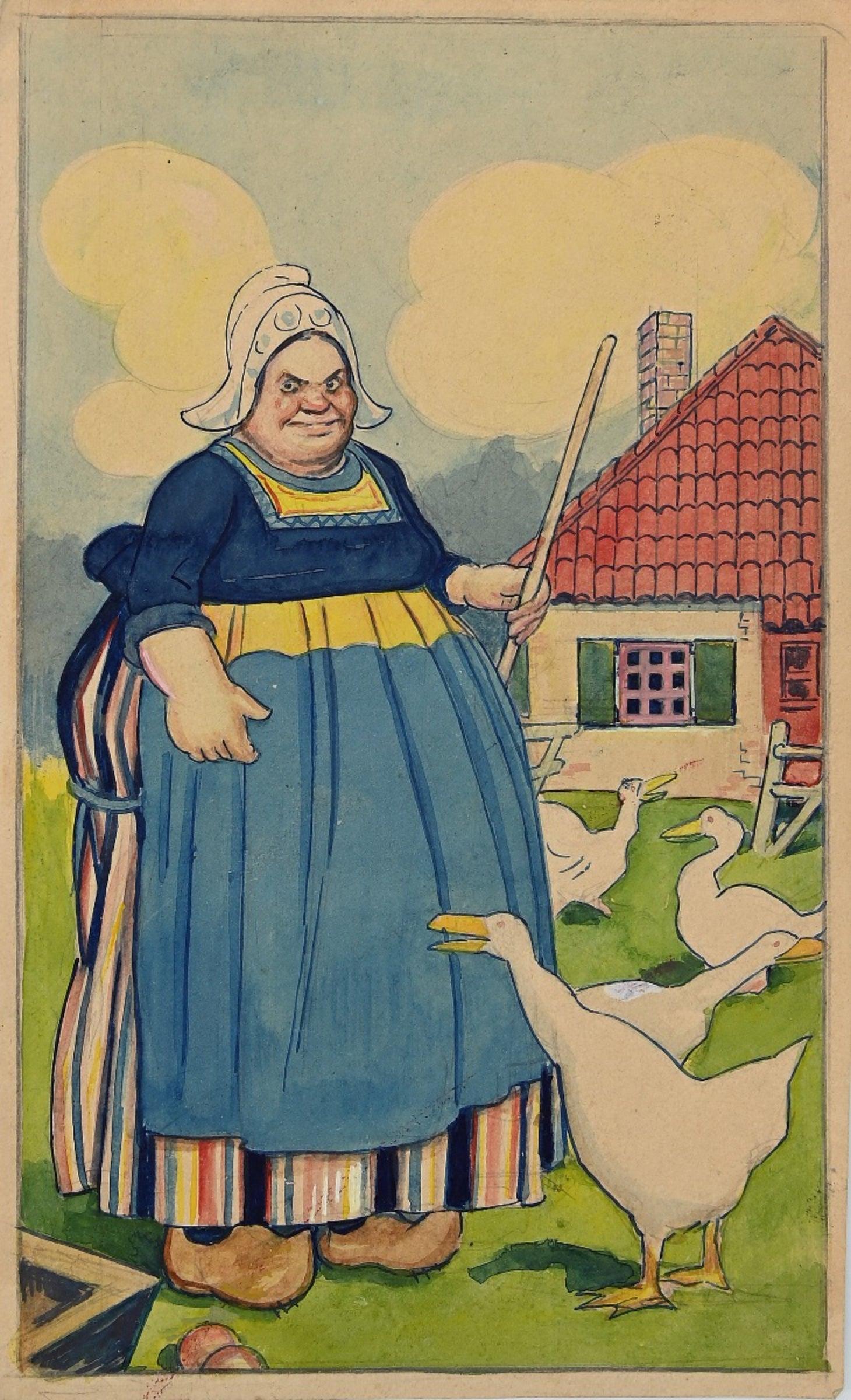 Peasant Woman with Geese - Original Drawing by Gabriele Galantara - 1915