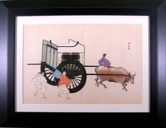 Oxcart with 3 Men
