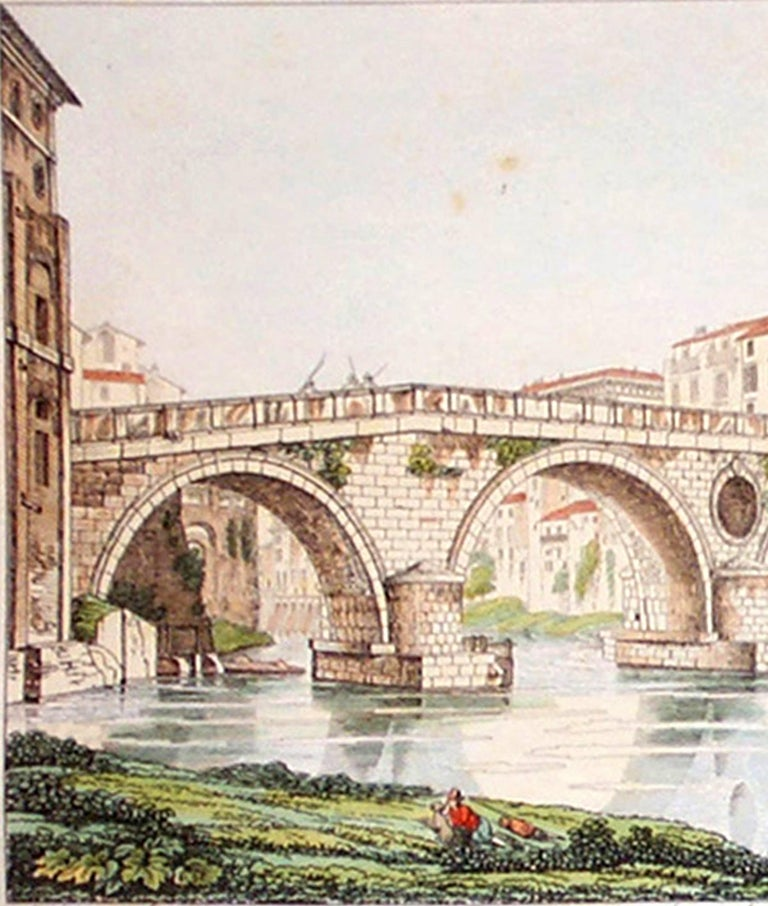 ROMA  (Italy) A. Aquaroni. Engraving.  Modern Hand-Color. Rome, 1750.   Ever wonder what pre-dated the postcard?  By the mid-eighteenth century, travel and exploration had become a wealthy man's folly.  Playing to timeless elements of human
