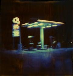 Gasstation at Night II  - Contemporary, 21st Century, Polaroid, Landscape Photo