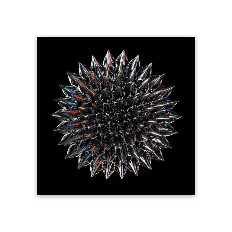 Chromogenic print. Edition 1/5.  In his Magnetic Radiation series, Janiak reveals the hidden world of magnetism by photographing ferrofluids. A ferrofluid is a liquid substance magnetized through the introduction of iron particles. Janiak introduced