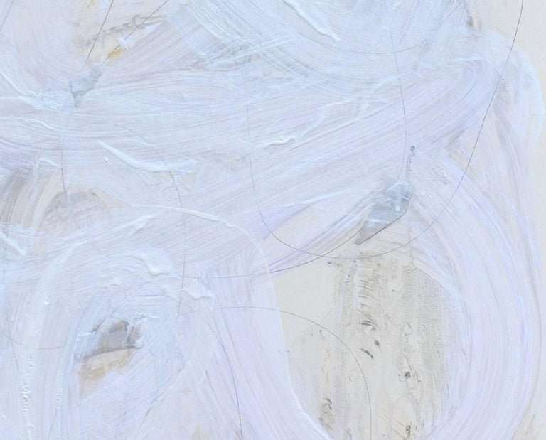 White series 11 - Abstract Expressionist Painting by Brenda Zappitell