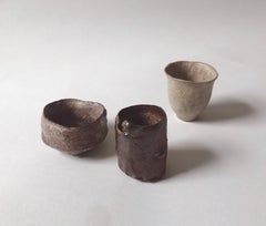 Three ceramic cups by Shiro Shimizu