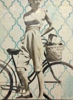 """Day Trip"" - vintage, encaustic, celebrities, retro, nostalgic, memories, bike"