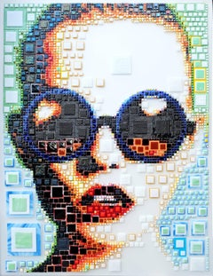 """Bibi"" -- glass fusing, pointillism, dots, pop art, model, celebrity, beauty"