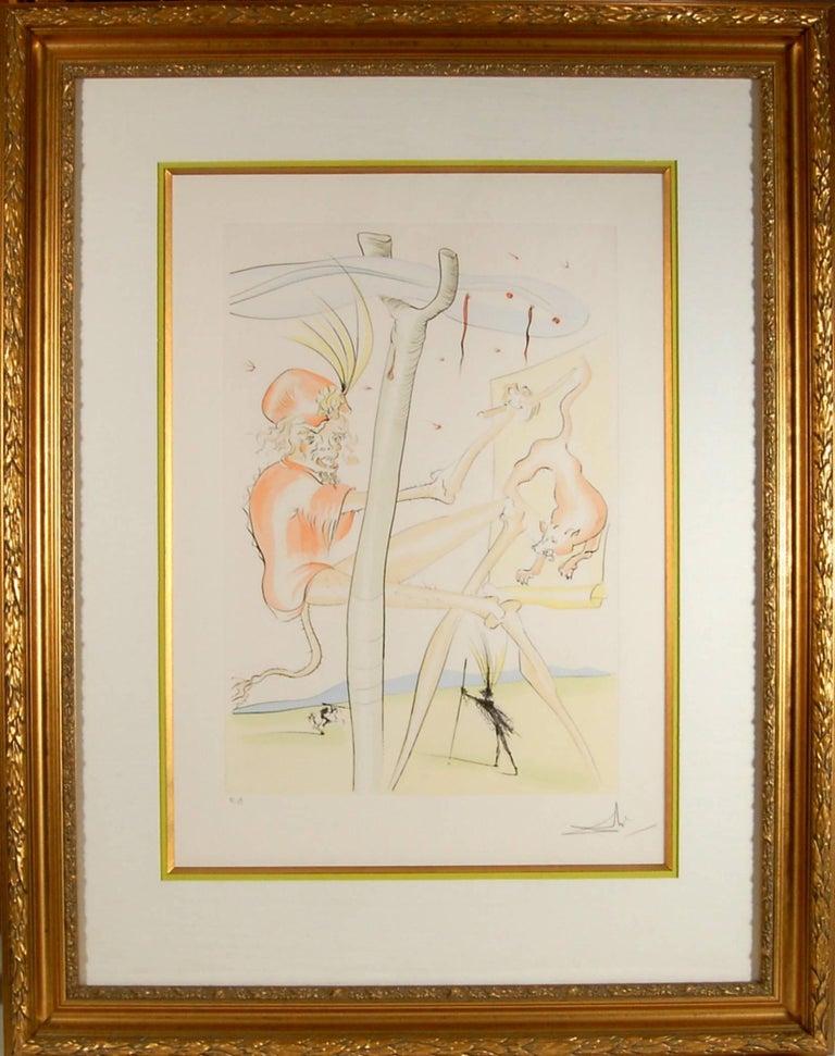 Salvador Dalí Figurative Print - Le Singe et le Leopard