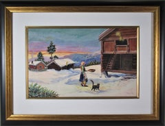Winter Landscape, with Woman and Cat