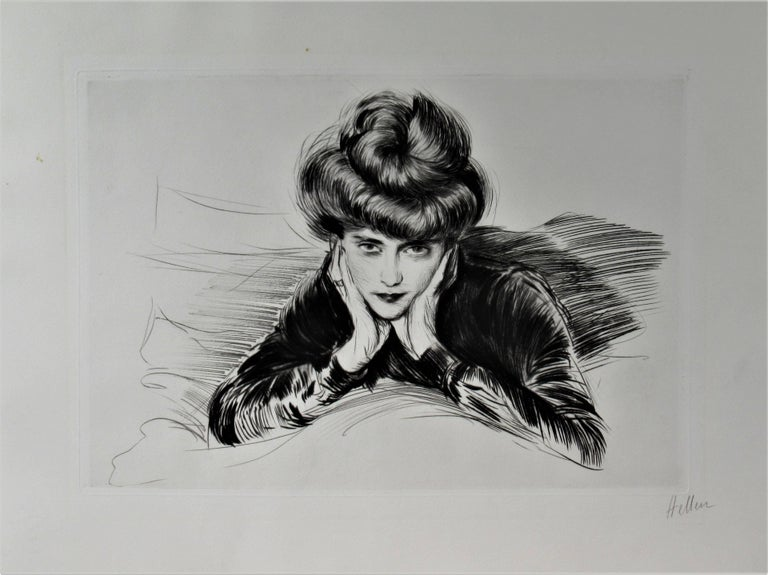 Le Visage Encadre, Madame Helen Helleu (The artist's Wife) - Print by Paul César Helleu