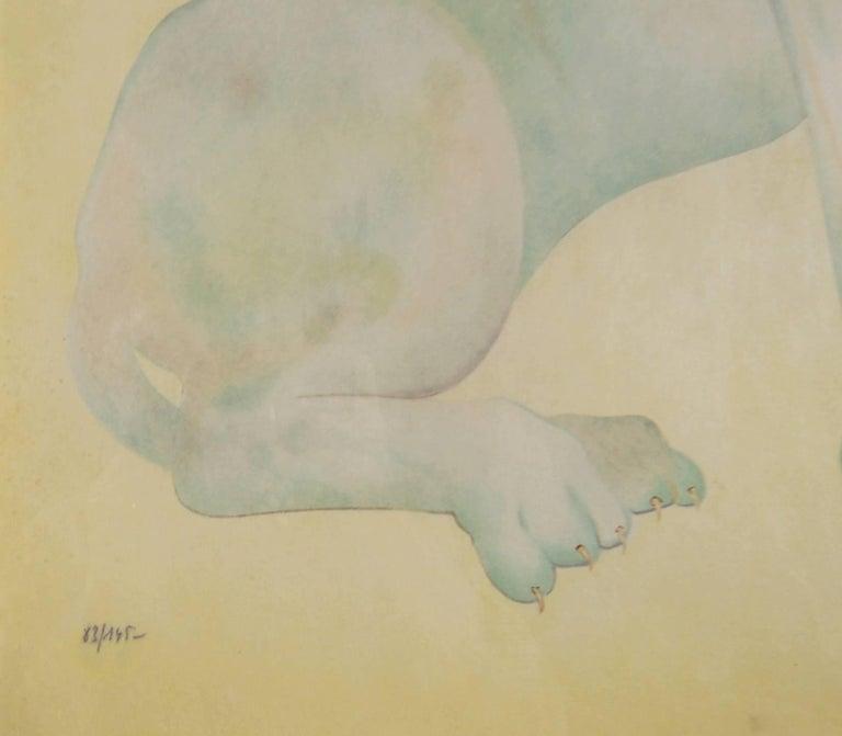 Yellow Sphinx - Beige Figurative Print by Leonor Fini
