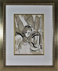 """""""Angel With Sword"""" from """"The Bible"""" original color lithograph."""