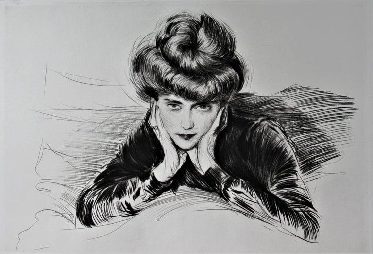 Le Visage Encadre, Madame Helen Helleu (The artist's Wife) - Art Nouveau Print by Paul César Helleu