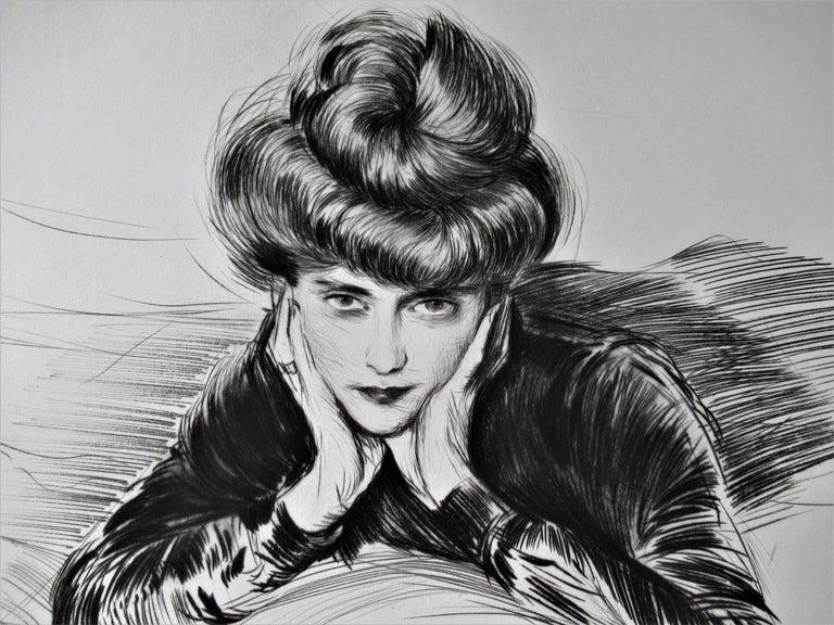 Le Visage Encadre, Madame Helen Helleu (The artist's Wife) - Gray Figurative Print by Paul César Helleu