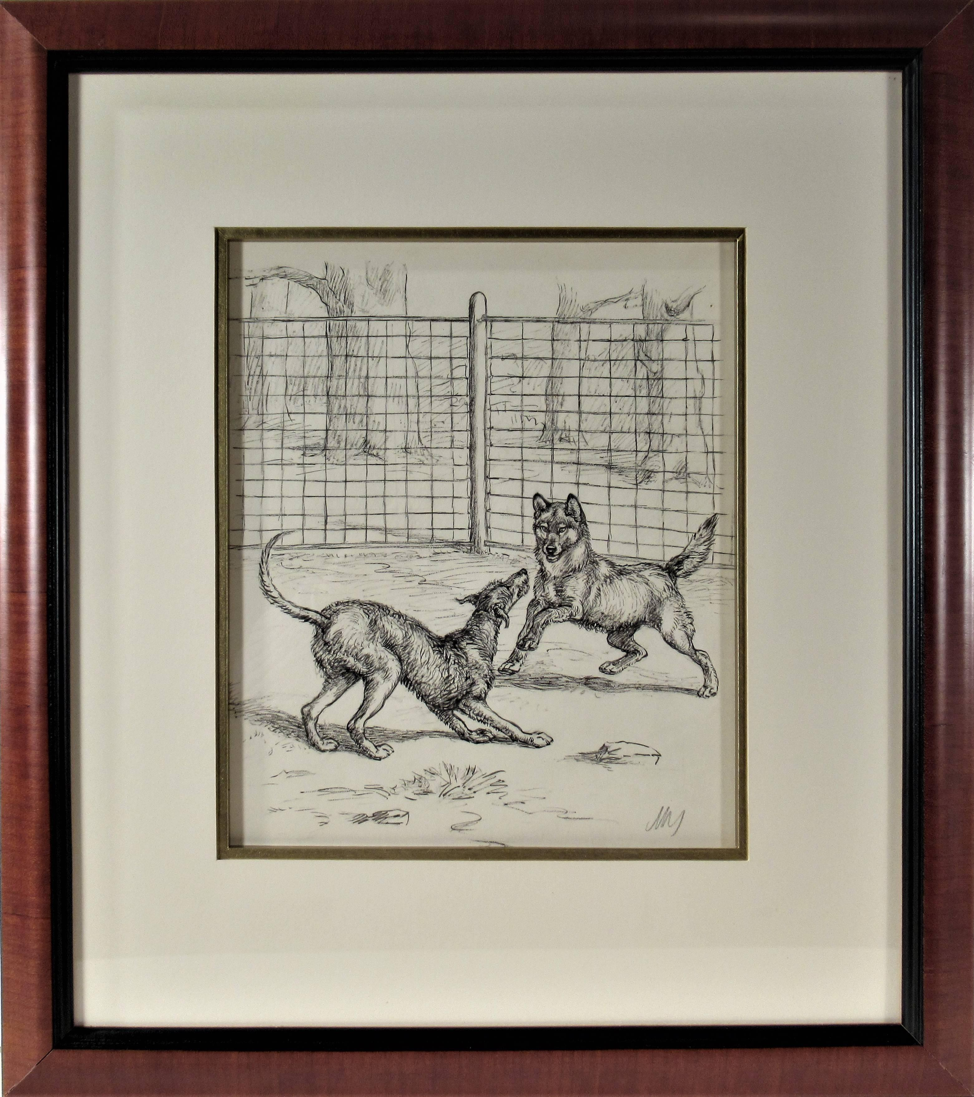 Two Dogs Playing in Front of a Fence
