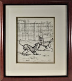 Margaret S. Johnson - Two Dogs Playing in Front of a Fence