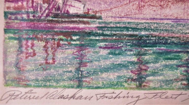 Return Alaskan Fishing Fleet, San Francisco Bay Estuary - Brown Landscape Art by Harry Emerson Lewis