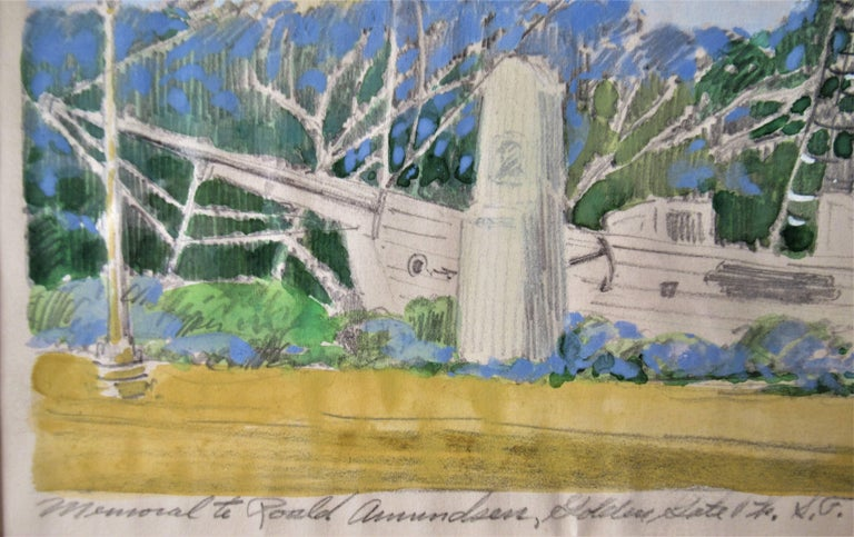 Memorial Ronald Amunsen, Golden State, San Francisco - Brown Landscape Art by Harry Emerson Lewis