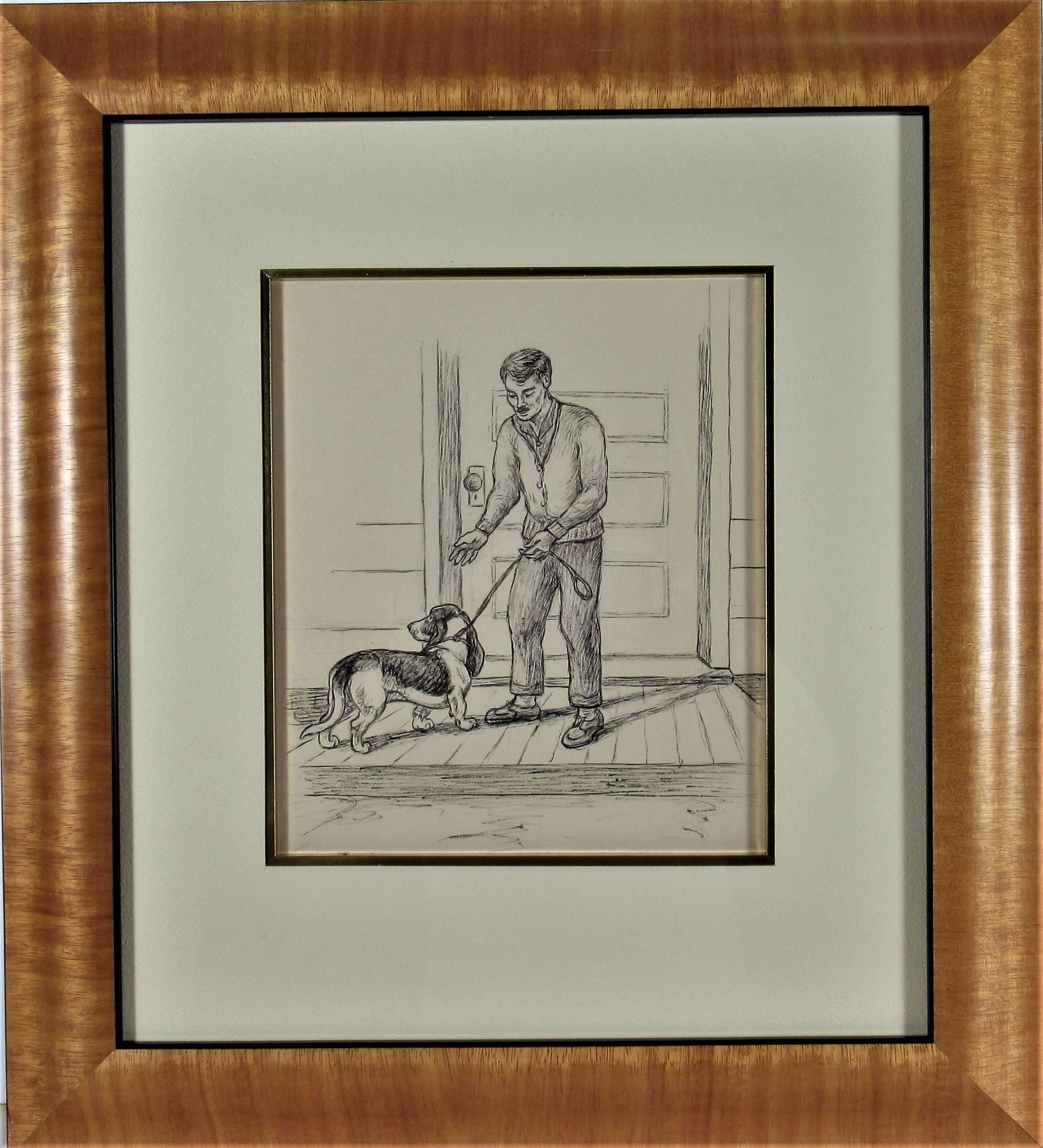 Man and Dog on the Front Porch