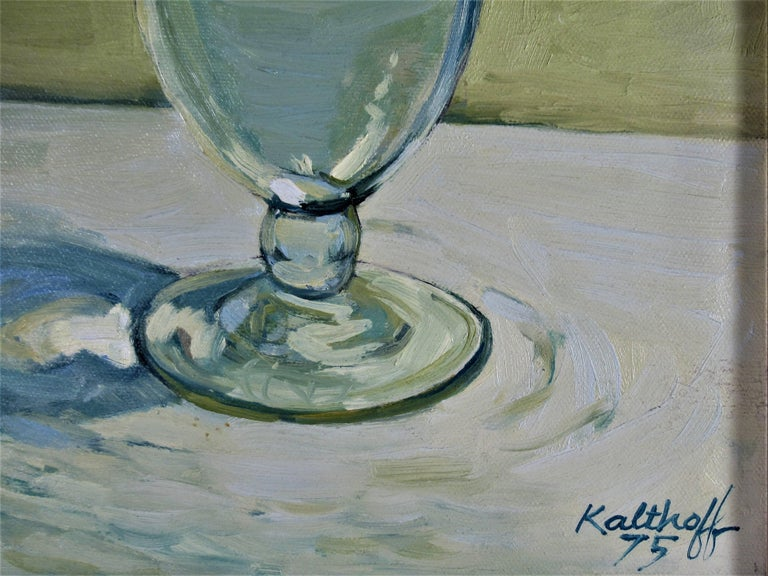 Still Life with White Wine Glass - Impressionist Painting by Robert Kalthoff