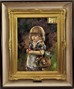 Little Girl with Flowers Basket