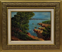 Landscapes with sea. Two paintings on hardboard, one is signed.
