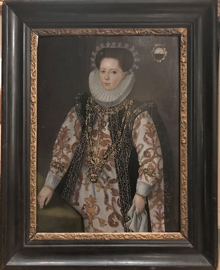 Elizabethan Lady Marriage Portrait - Painting by Unknown