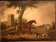 A Favourite Hunter and Hounds outside Elegant Stables, a Church in the Distance