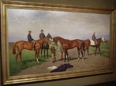 A magnificent Edwardian painting at the Gallops - racehorses exercising