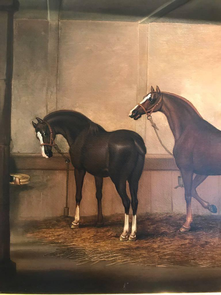 Feeding Time in the Stables - Black Animal Painting by James Seymour