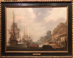 Shipping at Anchor with Elegant Figures Ashore