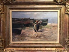 Seascape with Figures - Scottish Post Impressionist oil painting