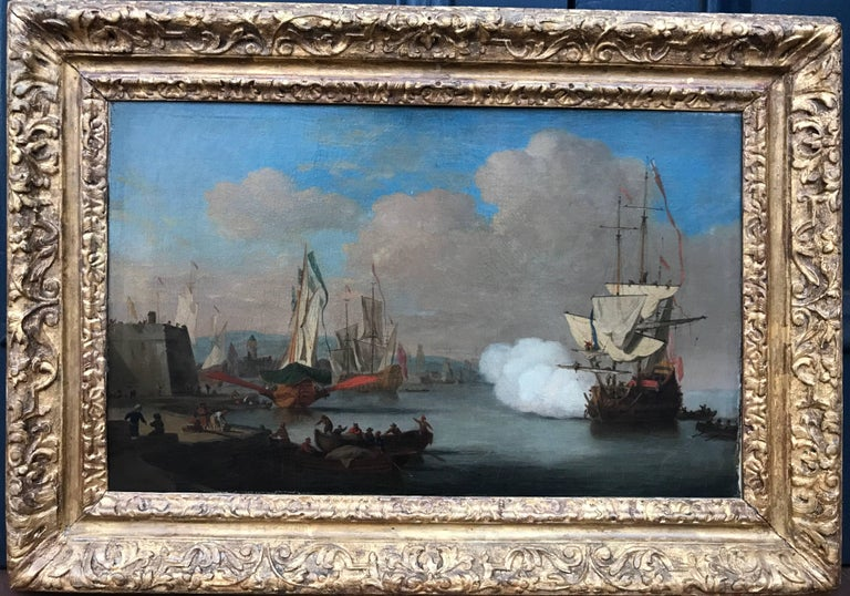(Attributed to) Willem van de Velde the Younger Figurative Painting -  A Levantine or Southern European Harbor Attributed to Van de Velde the Younger