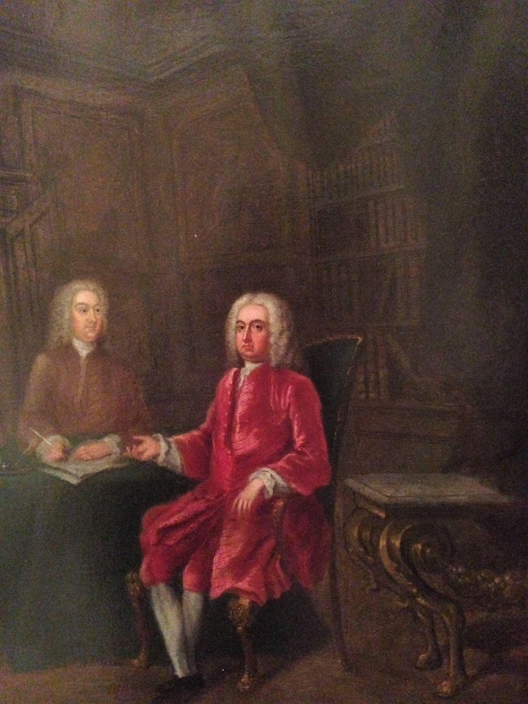 Charles Philips 1708 - 1747  Oil on Canvas 27 x 25.75 inches framed 21 x 22 ½ inches,  53.5 x 57 cm Provenance: B. Thynne Esq., Westlands, West Grinstead, Horsham, Sussex In a carved early 18th century frame Signed ll.  Thomas Thynne, 2nd Viscount