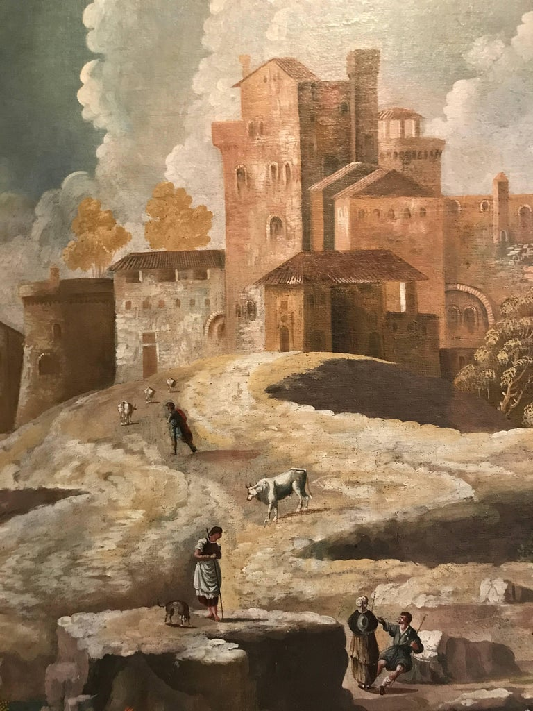 Enormous 17th Century Italian landscape. Unframed at present. Excellent condition.