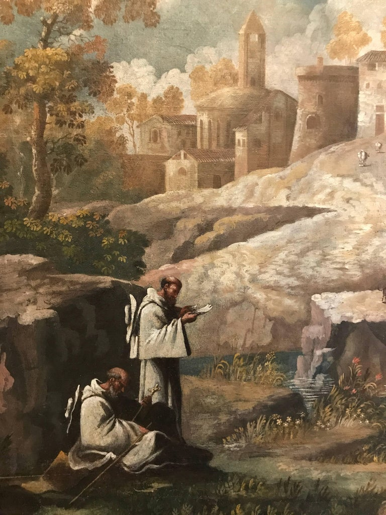 Monumental 17th Century Landscape with Figures in an Arcadian setting - Brown Landscape Painting by Unknown