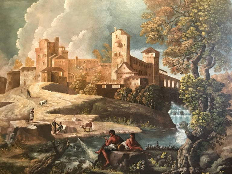 Monumental 17th Century Landscape with Figures in an Arcadian setting - Painting by Unknown