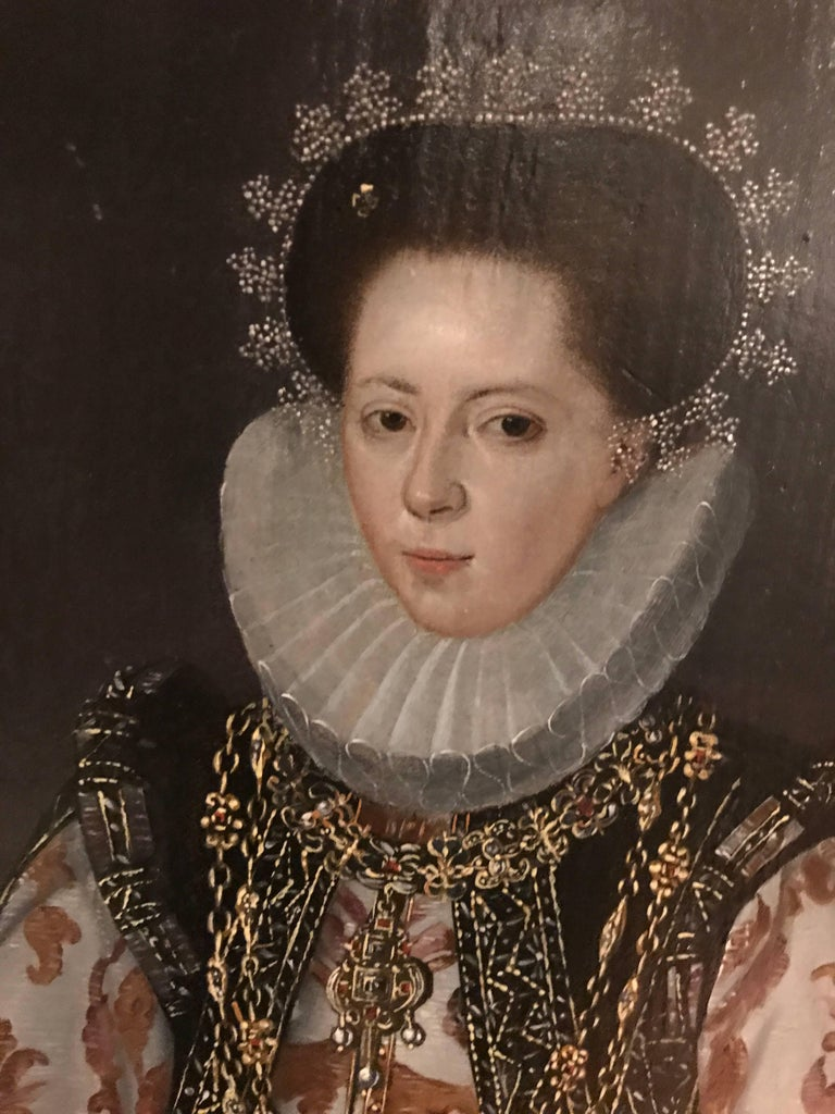 French 16th Century Elizabethan Lady c.1580 Oil on panel 16  x 11 ½ inches;  21 x 16 ¾ inches including frame.  Provenance: Christie's Paris, 21st of June 2011, lot 54  The Elizabethan era is the epoch in the Tudor period of the history of England