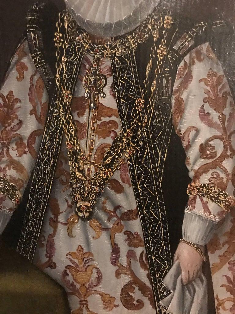 Elizabethan Lady Marriage Portrait - Black Figurative Painting by Unknown